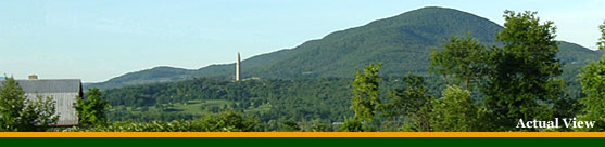 View of Mount Anthony and Bennington Monument from Harwood Hill Motel